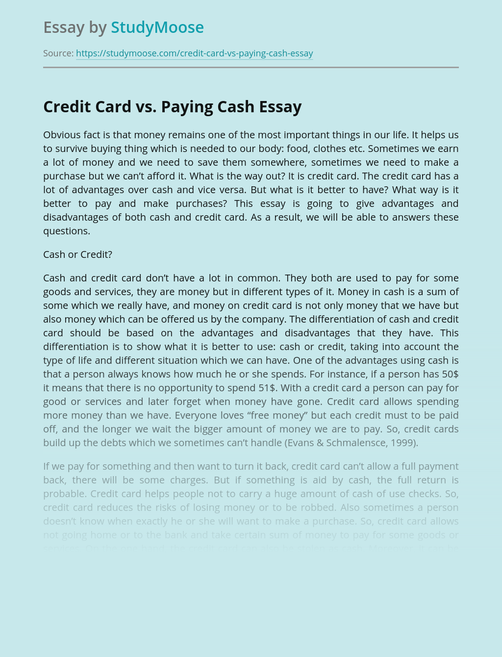 Credit Card vs. Paying Cash