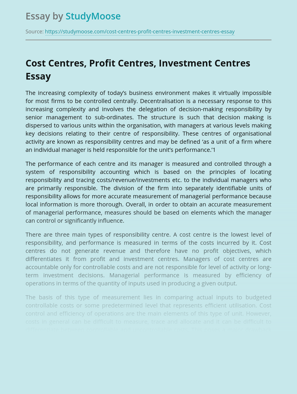 Cost Centres, Profit Centres and Investment Centres in Business