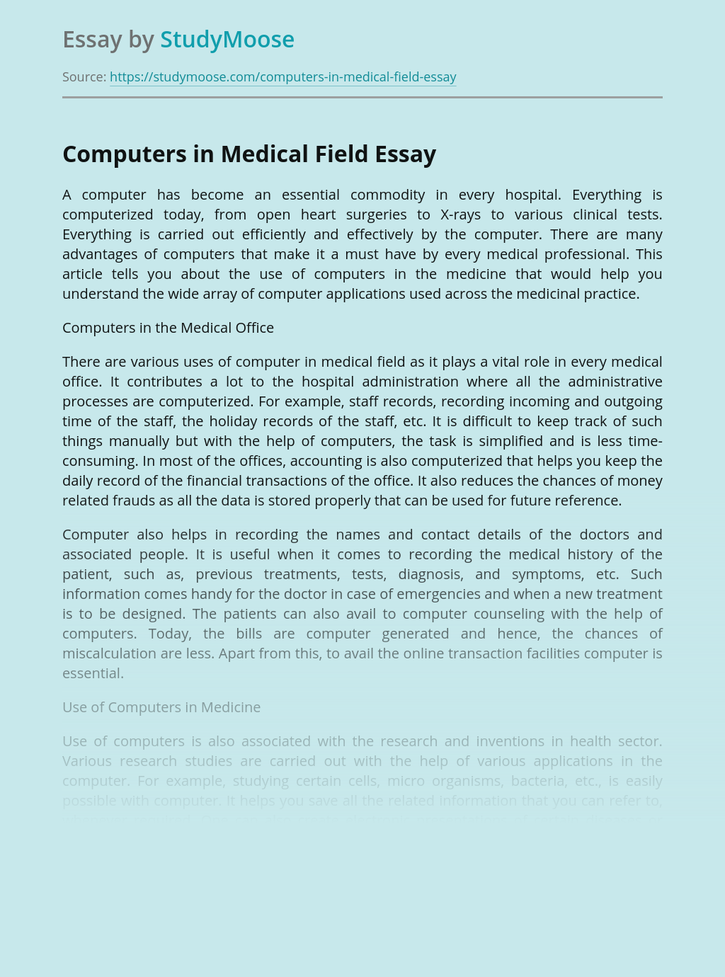 Computers in Medical Field