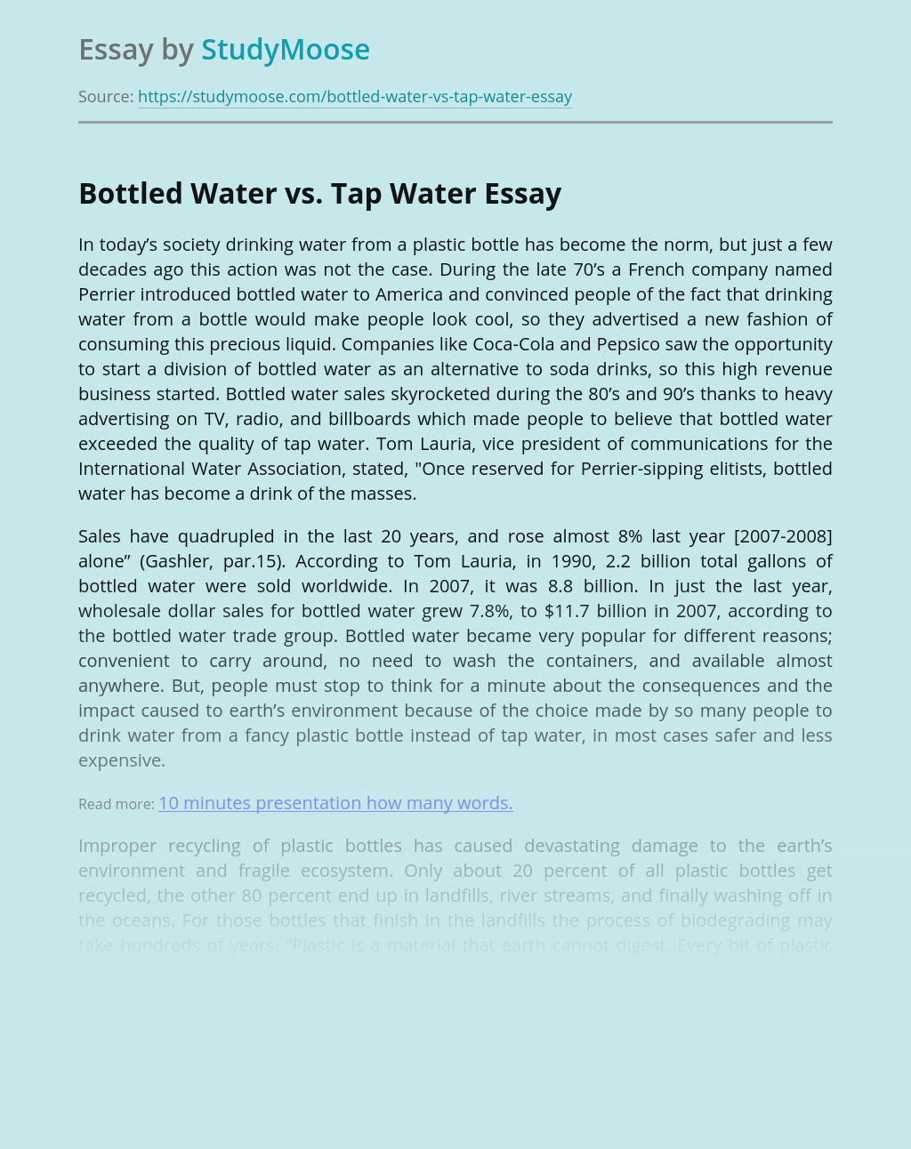 Advantages of Tap Water