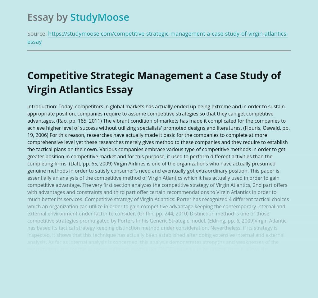 Competitive Strategic Management a Case Study of Virgin Atlantics