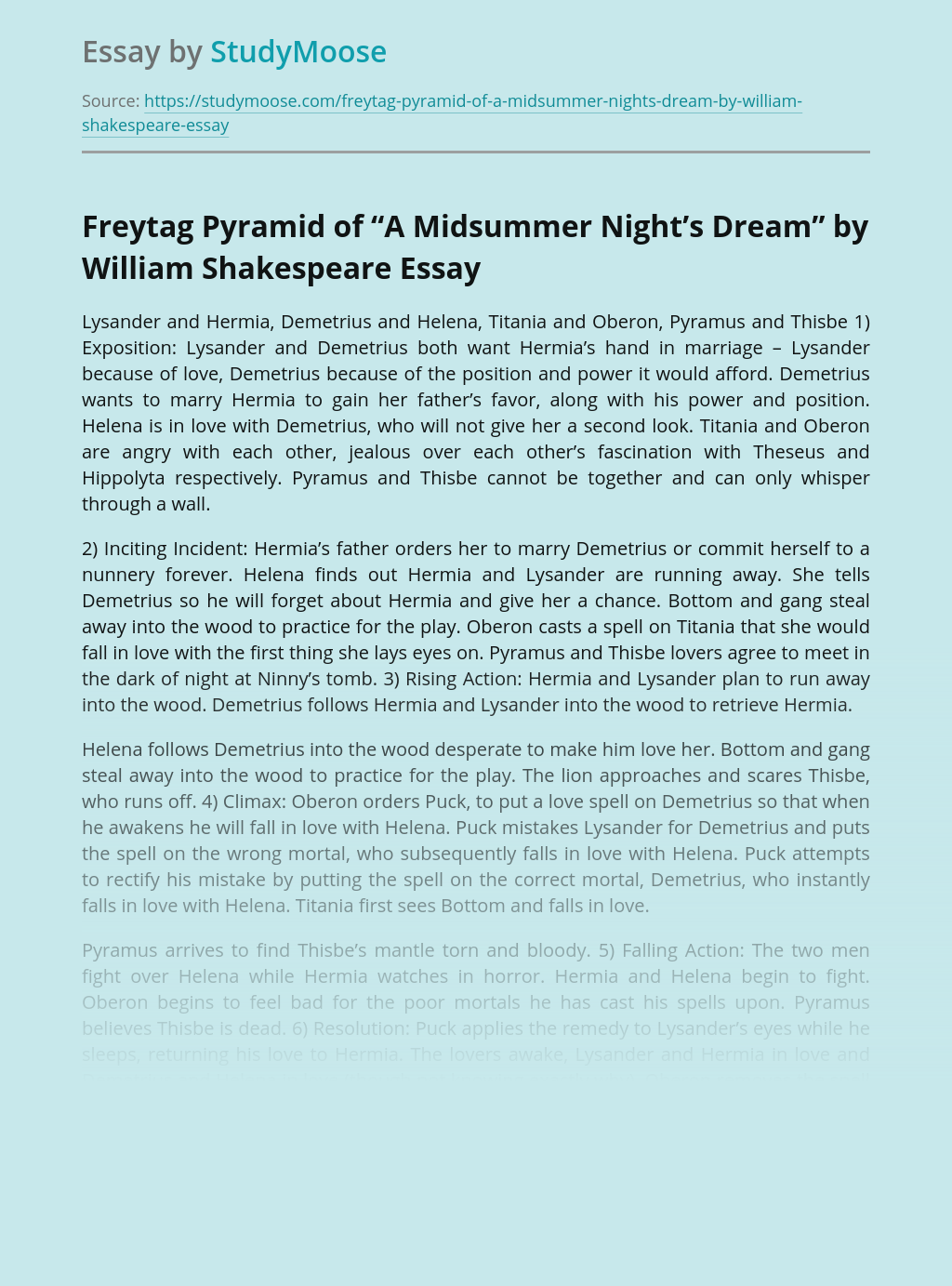 """Freytag Pyramid of """"A Midsummer Night's Dream"""" by William Shakespeare"""