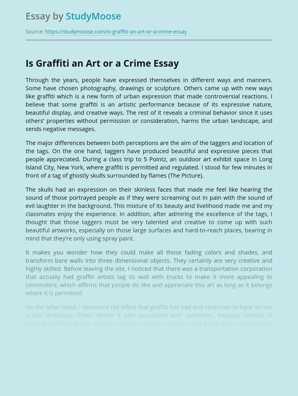 Is Graffiti an Art or a Crime