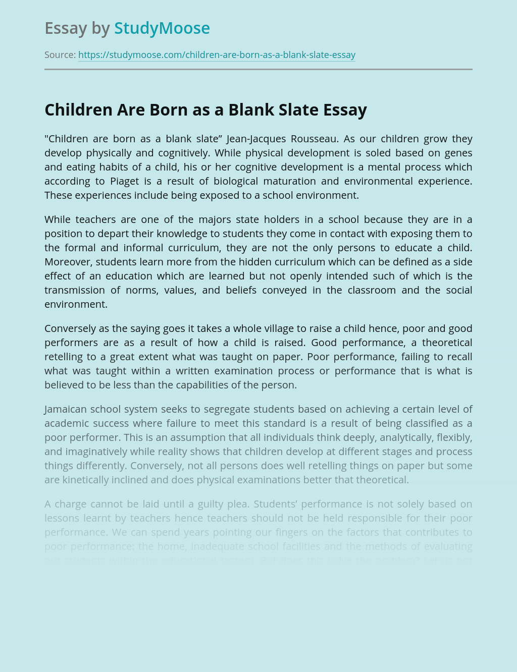 Children Are Born as a Blank Slate