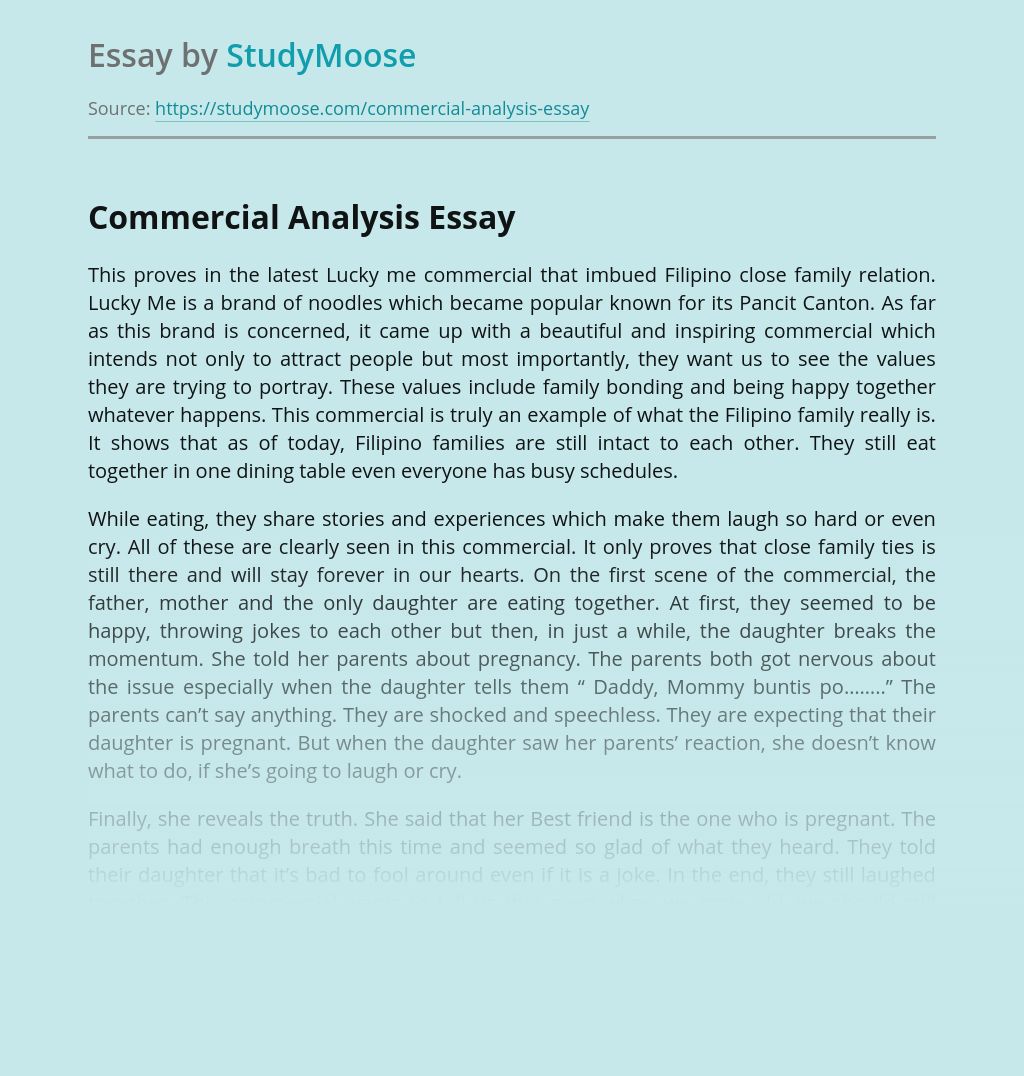 Commercial analysis essay