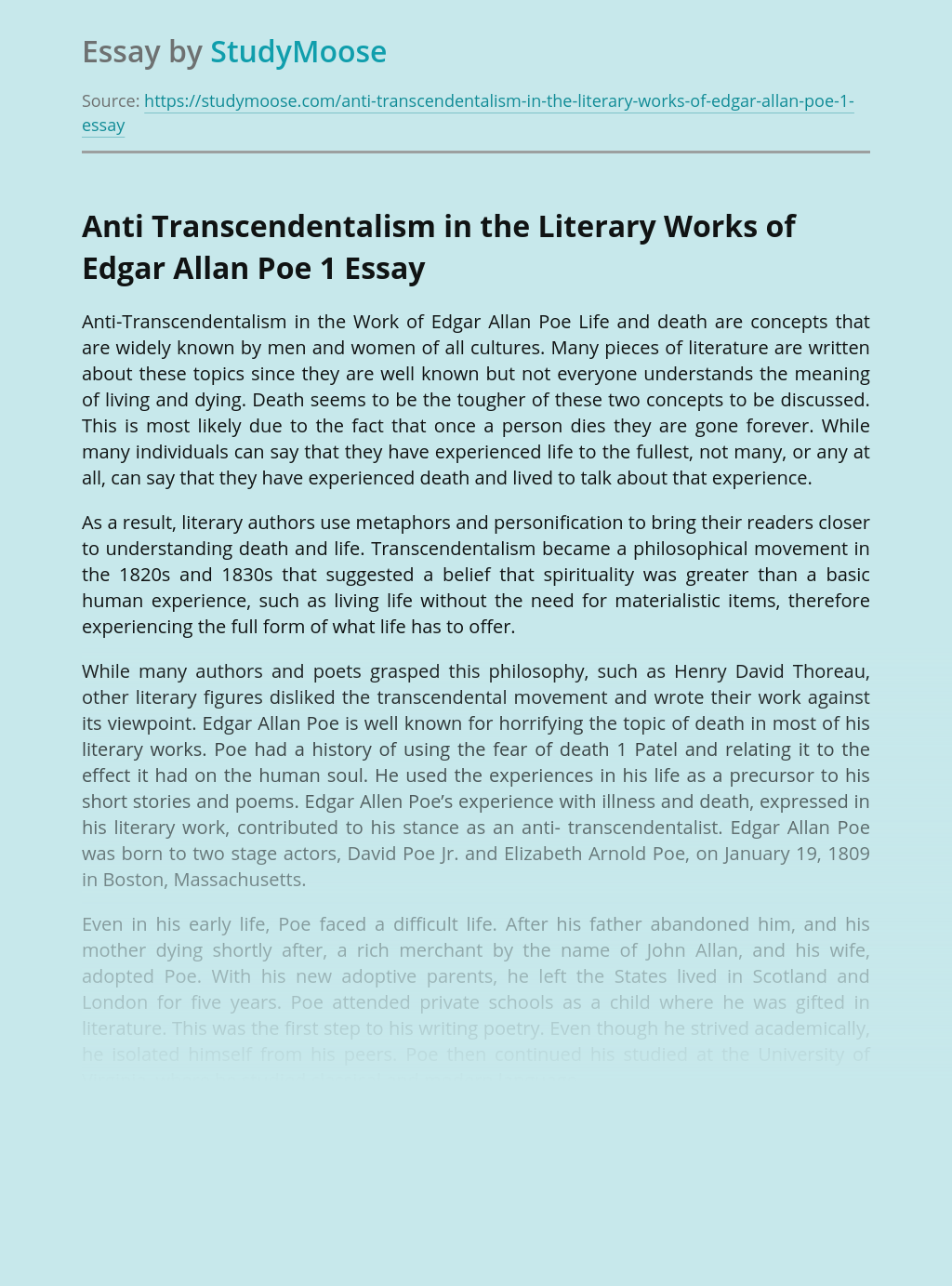 Anti Transcendentalism in the Literary Works of Edgar Allan Poe 1