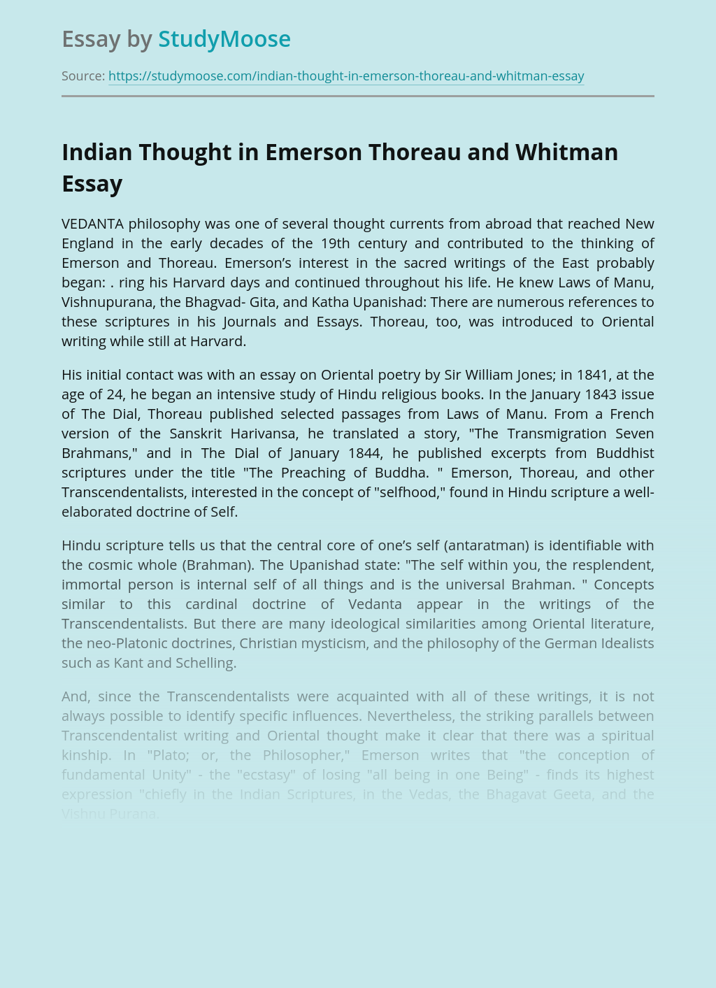Indian Thought in Emerson Thoreau and Whitman