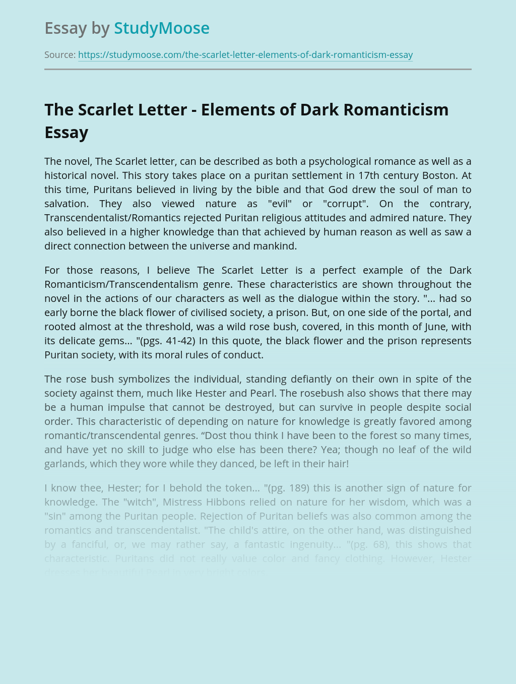 The Scarlet Letter - Elements of Dark Romanticism