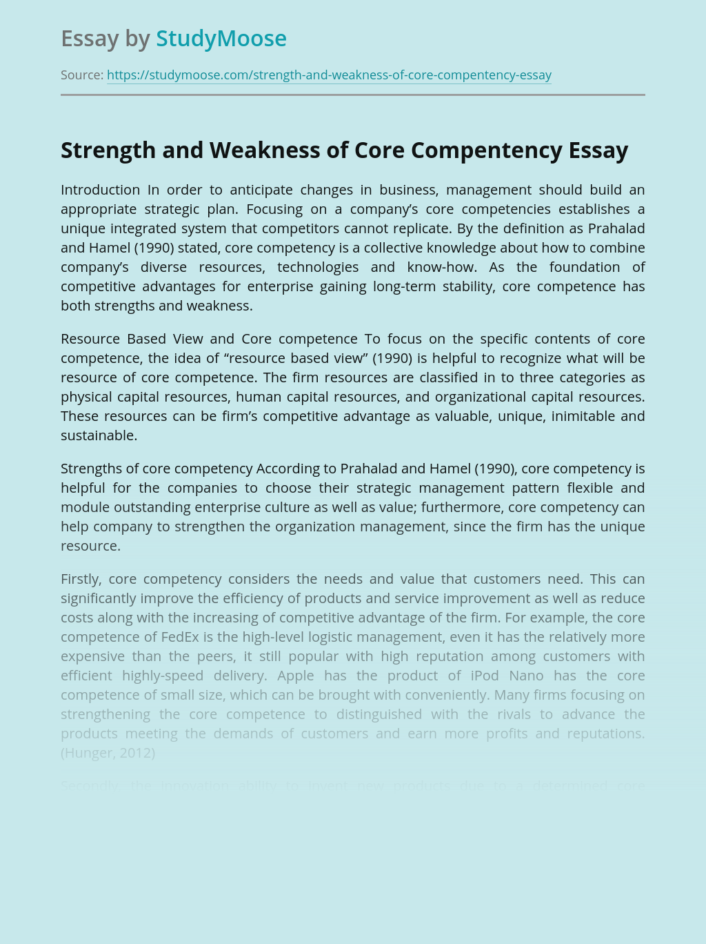 Core Competence of Business Strategy