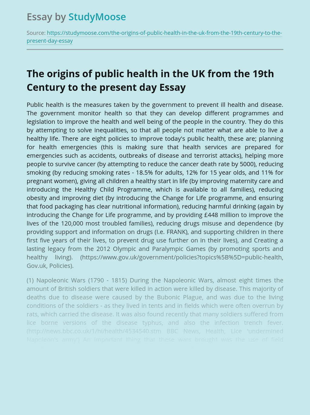 The origins of public health in the UK from the 19th Century to the present day