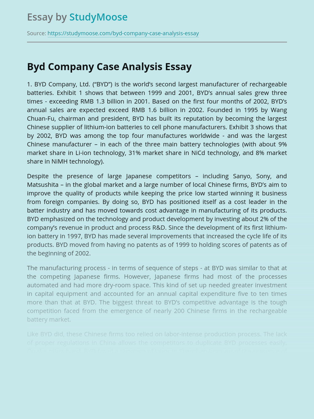 Byd Company Case Analysis