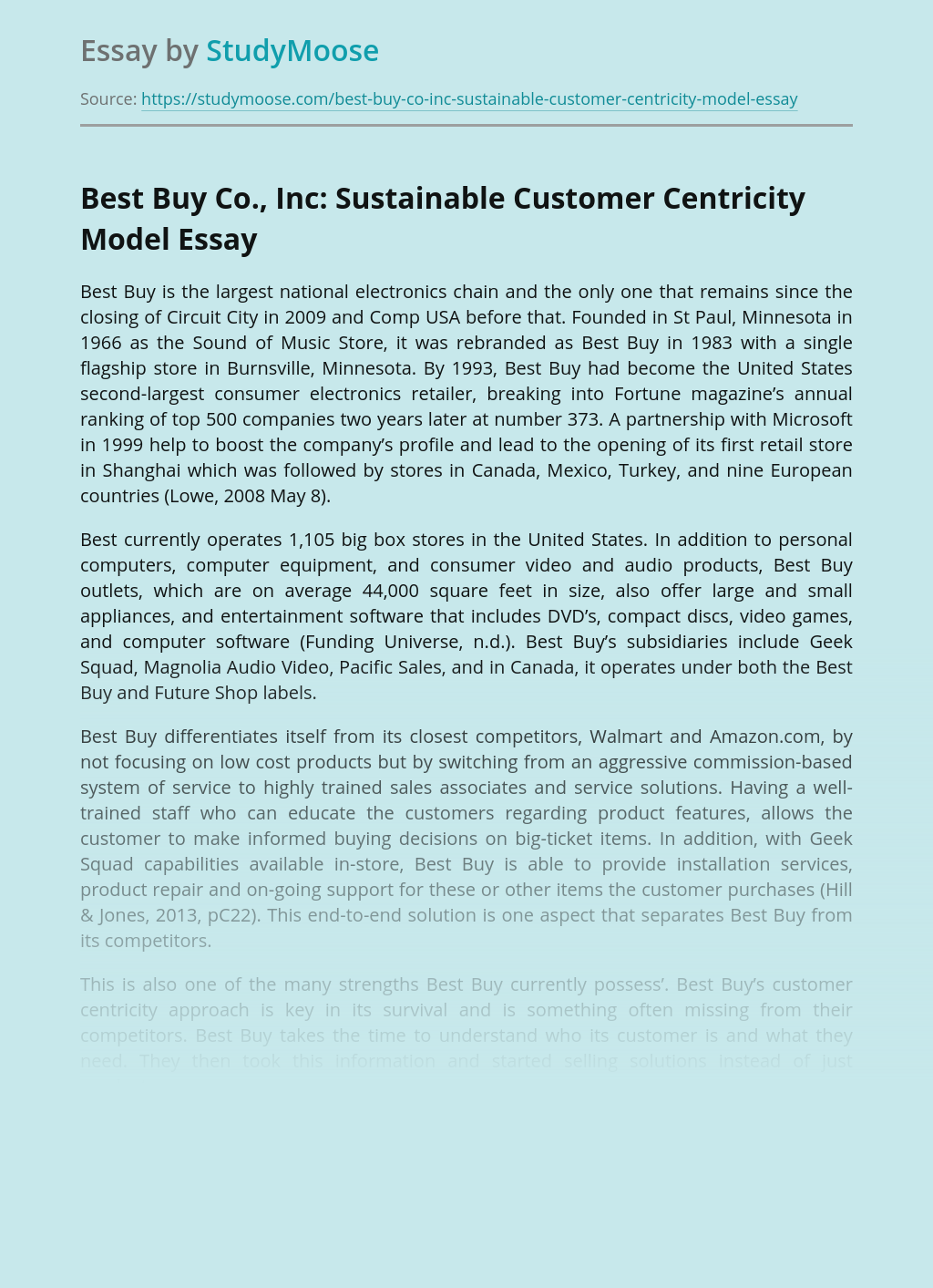 Best Buy Co., Inc: Sustainable Customer Centricity Model