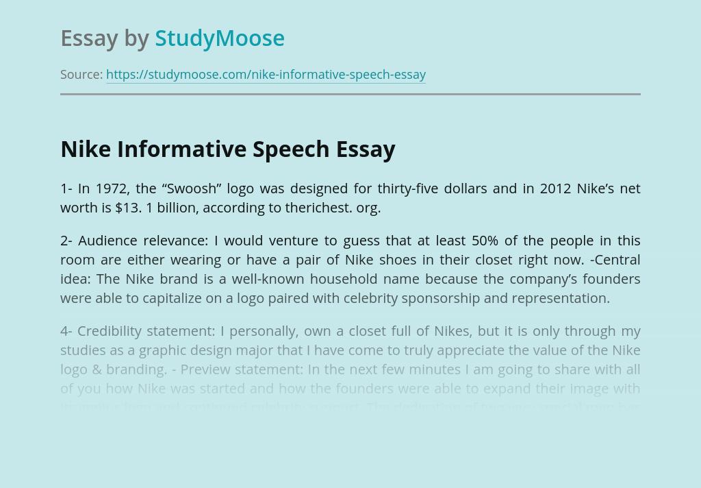 Nike Informative Speech Free Essay Example
