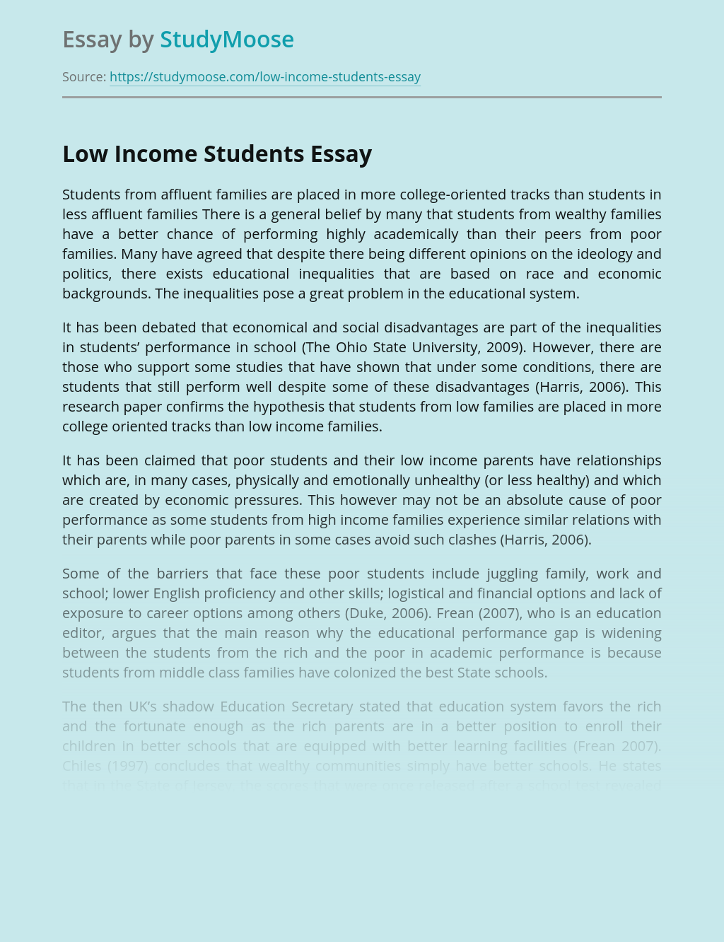 Barriers to College Completion for Low-Income Students
