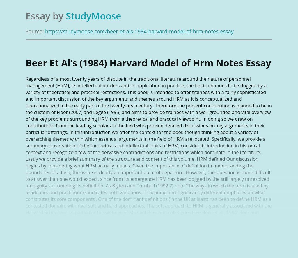 Beer Et Al's (1984) Harvard Model of Hrm Notes