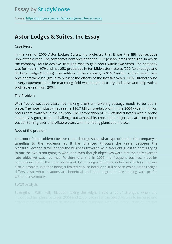 Astor Lodges & Suites, Inc Case Company