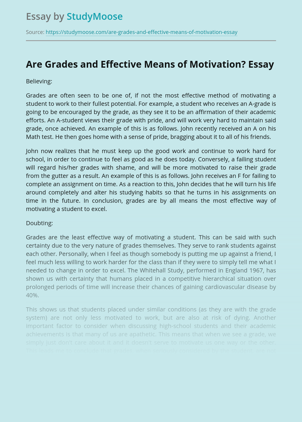 Are Grades and Effective Means of Motivation?