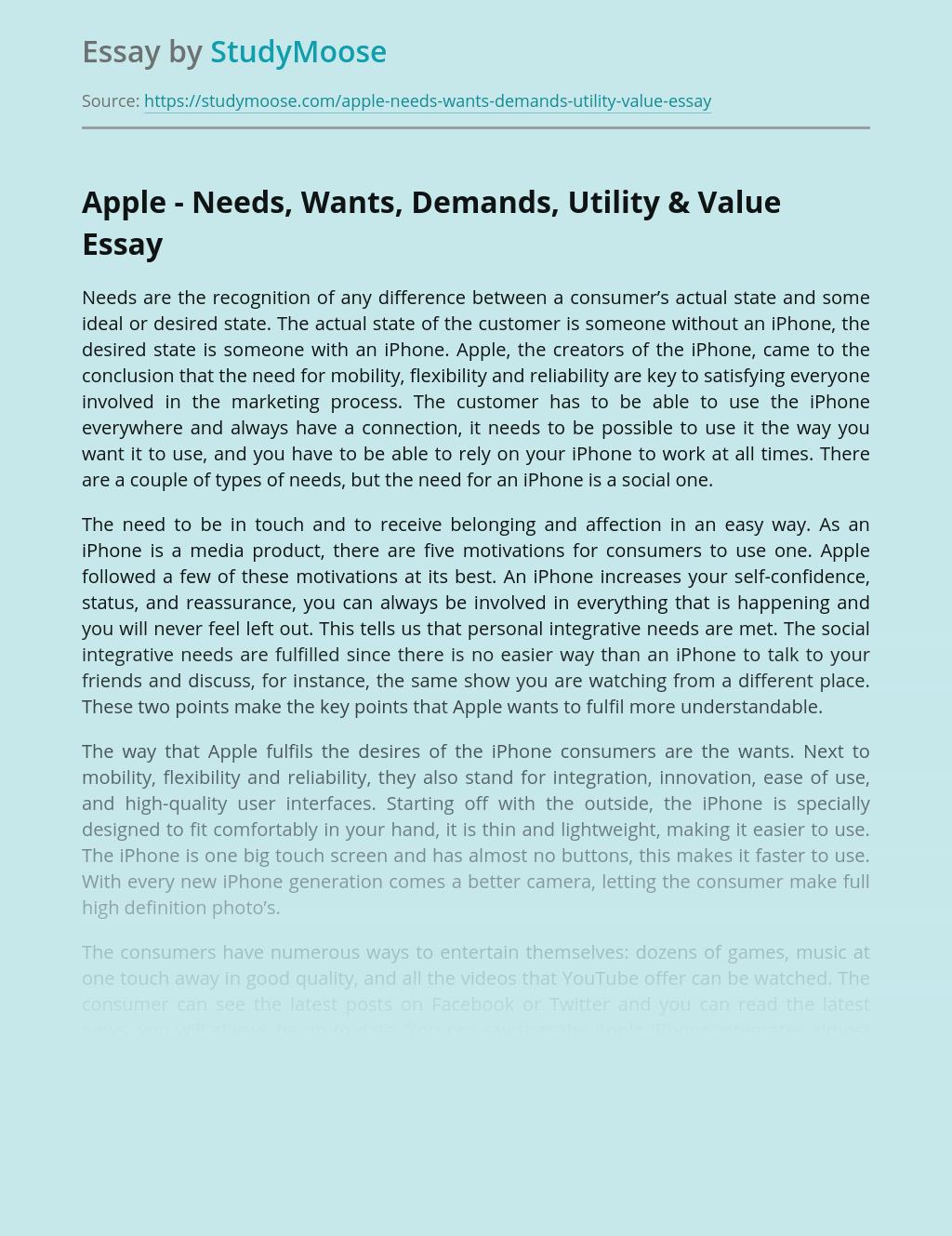Apple - Needs, Wants, Demands, Utility & Value