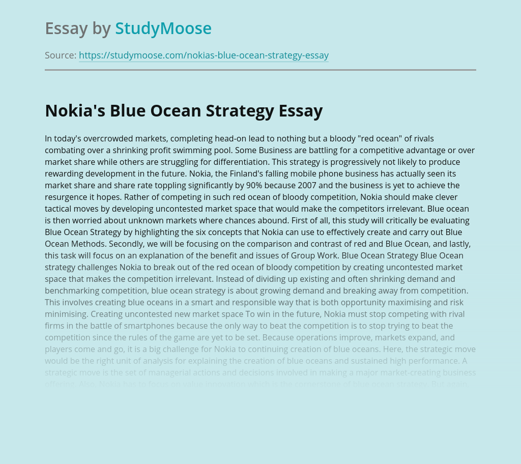Blue Ocean Strategy of Nokia Corporation