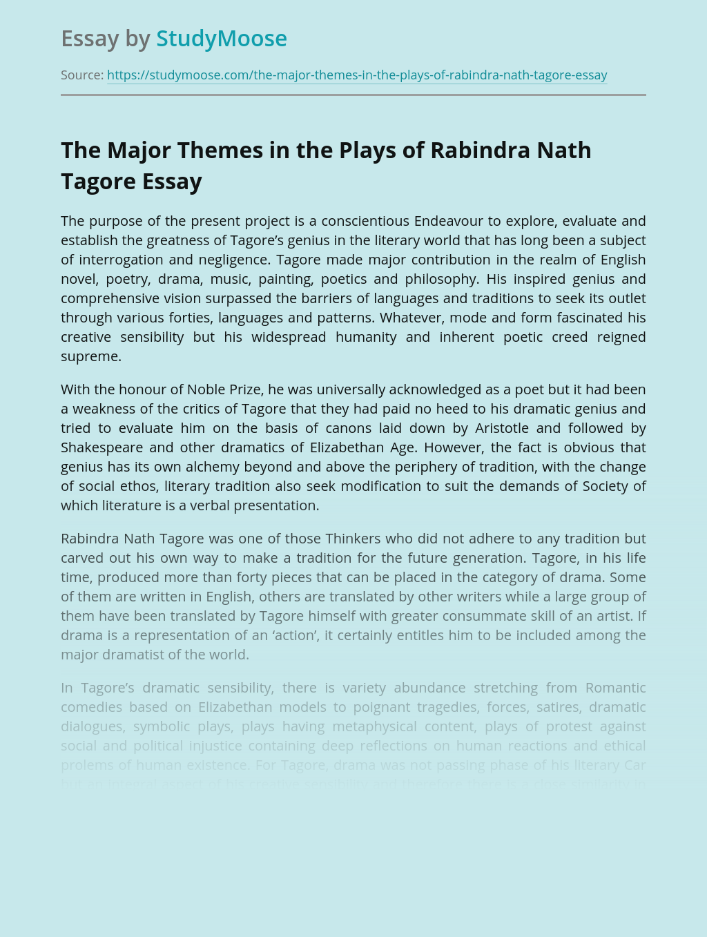 The Major Themes in the Plays of Rabindra Nath Tagore