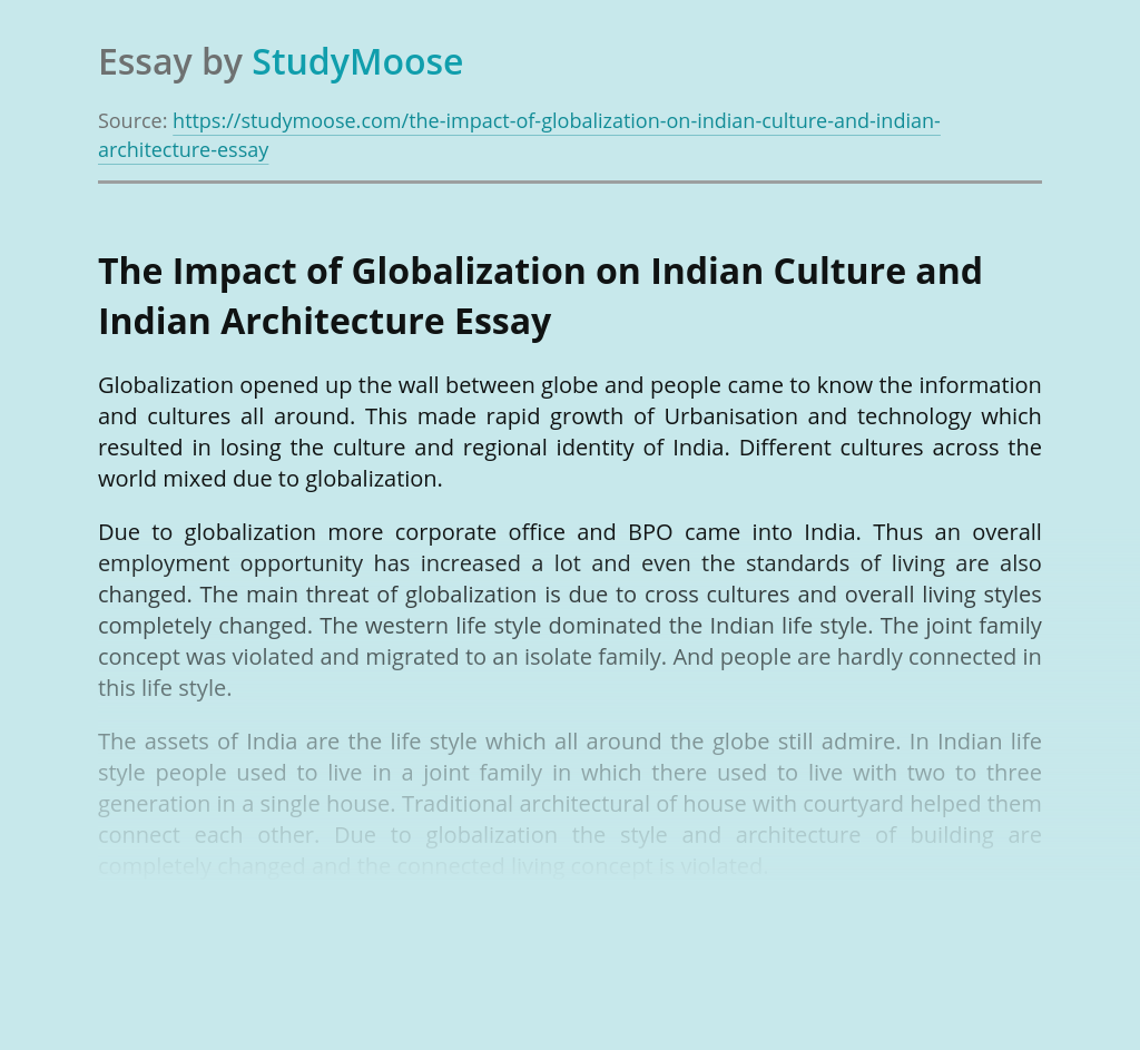 The Impact of Globalization on Indian Culture and Indian Architecture