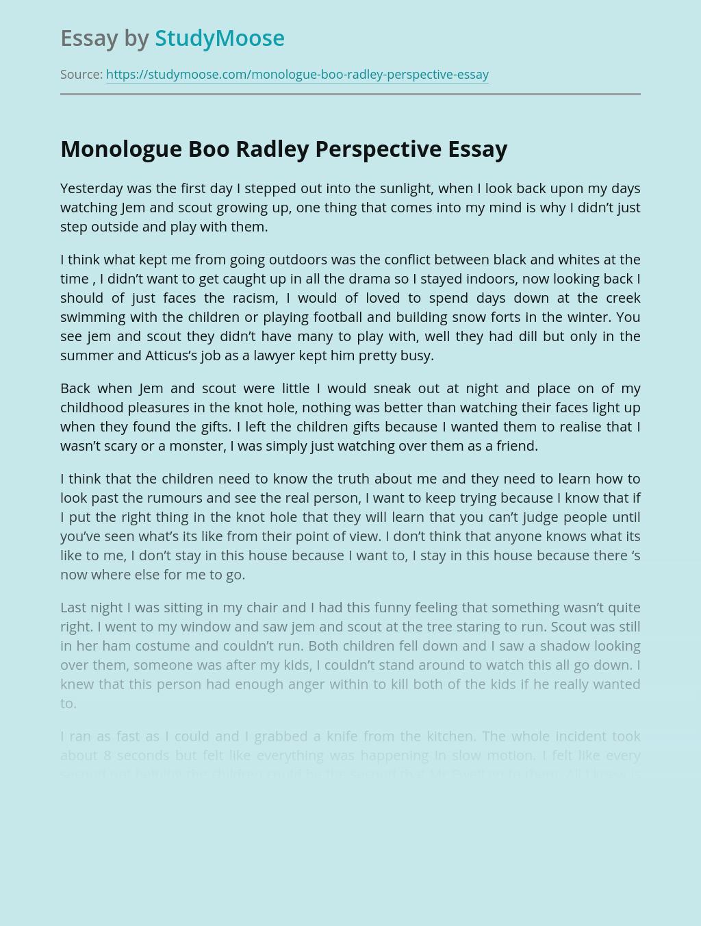 Monologue on Boo Radley Character