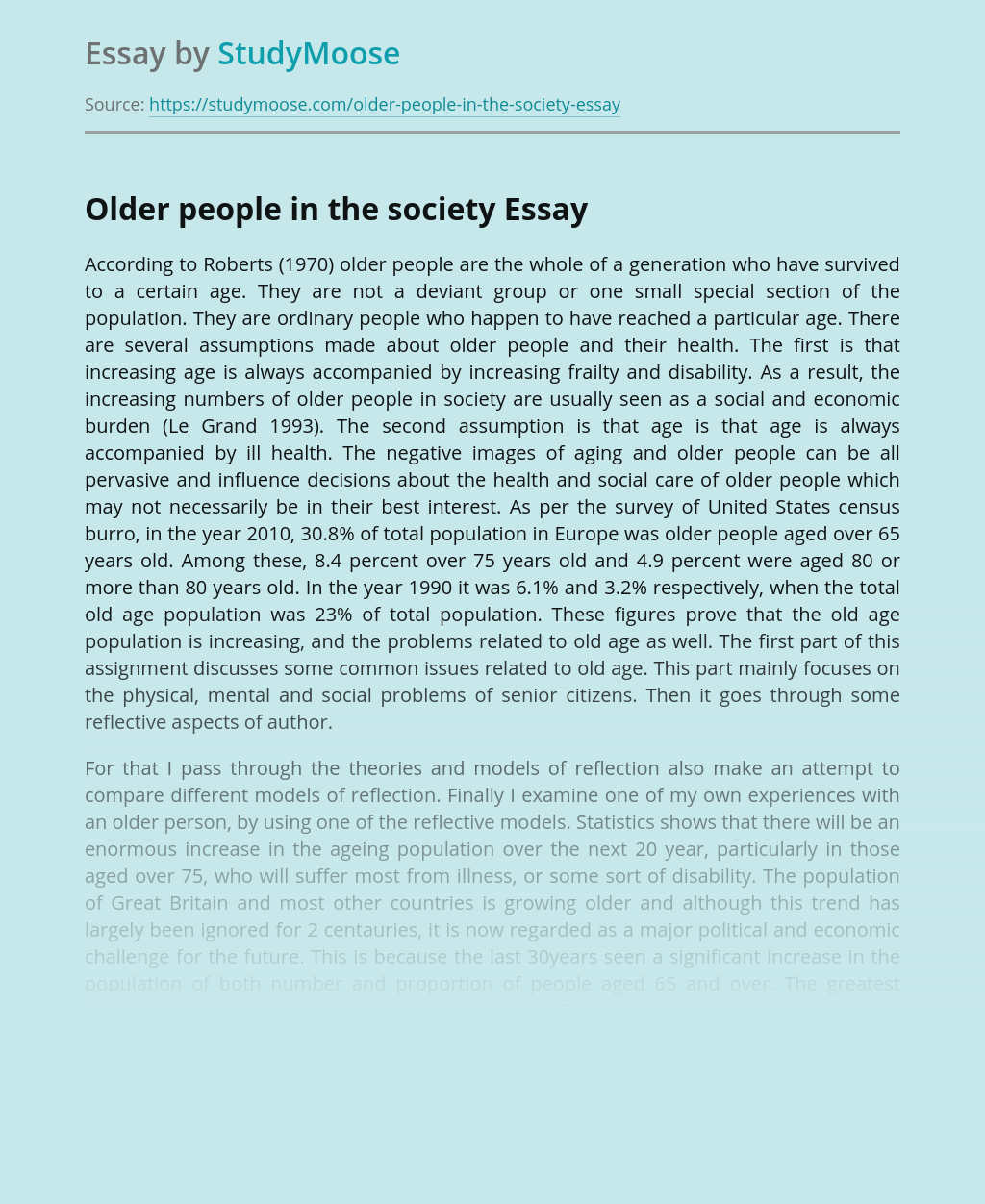 Older people in the society