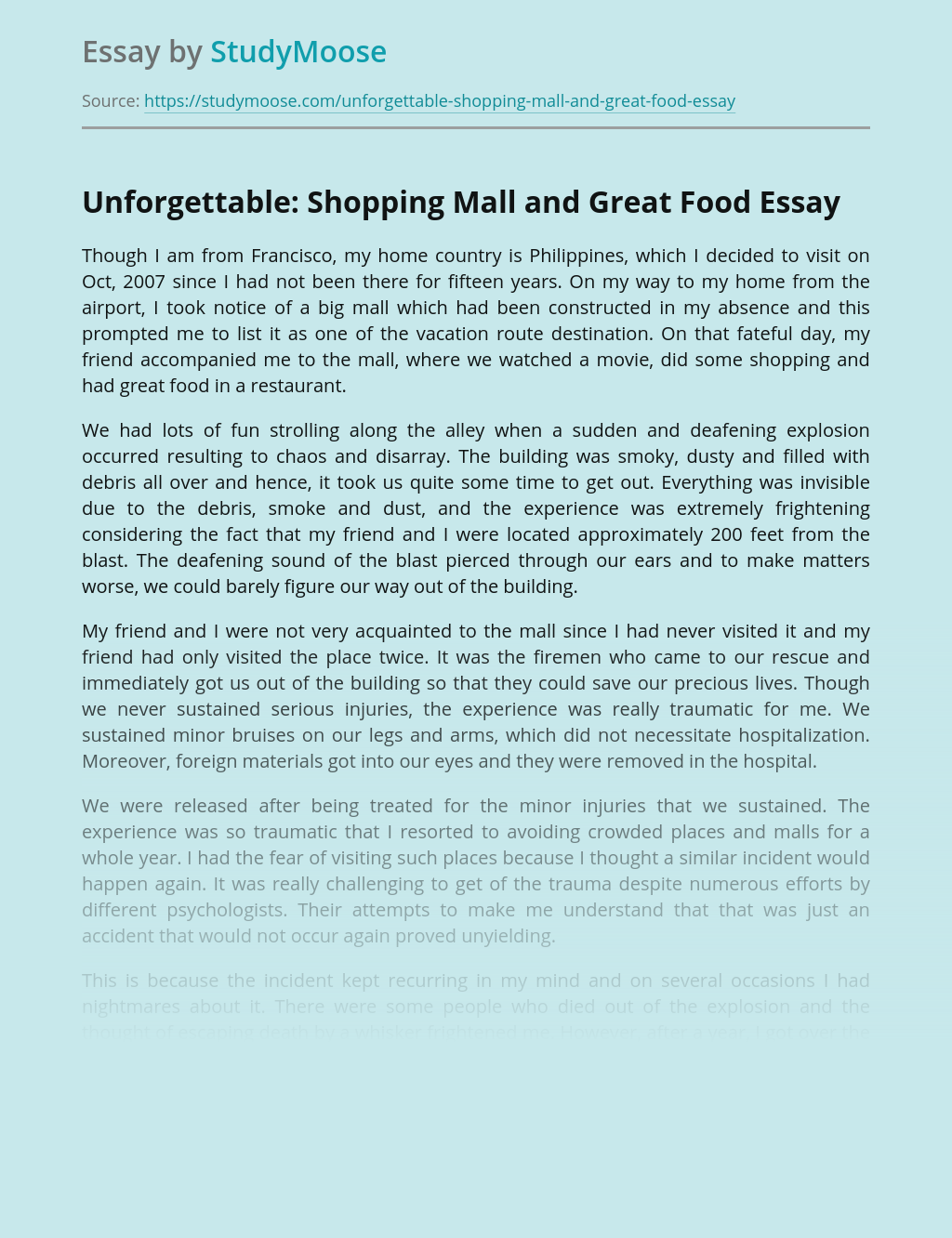 Unforgettable: Shopping Mall and Great Food