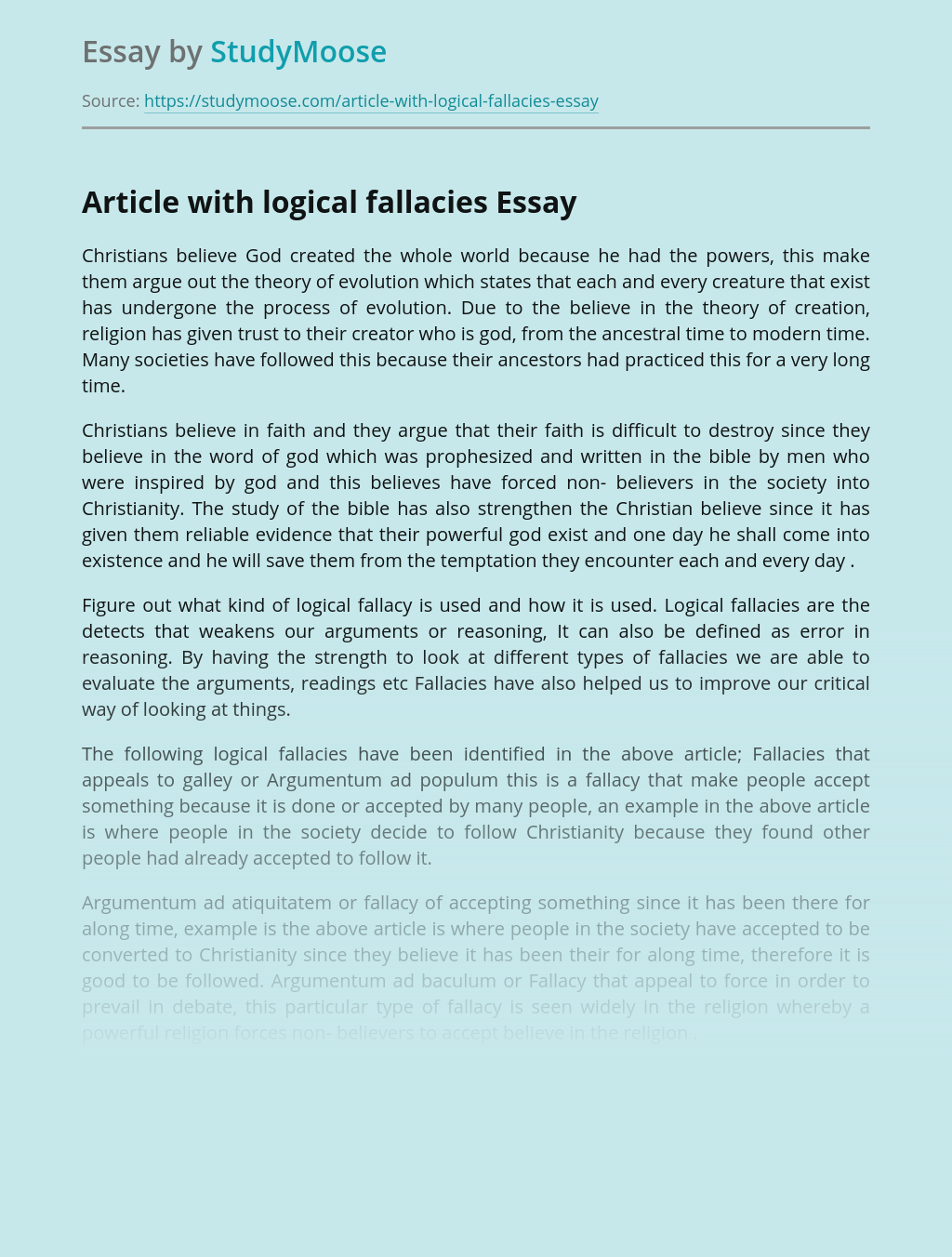 Article with logical fallacies