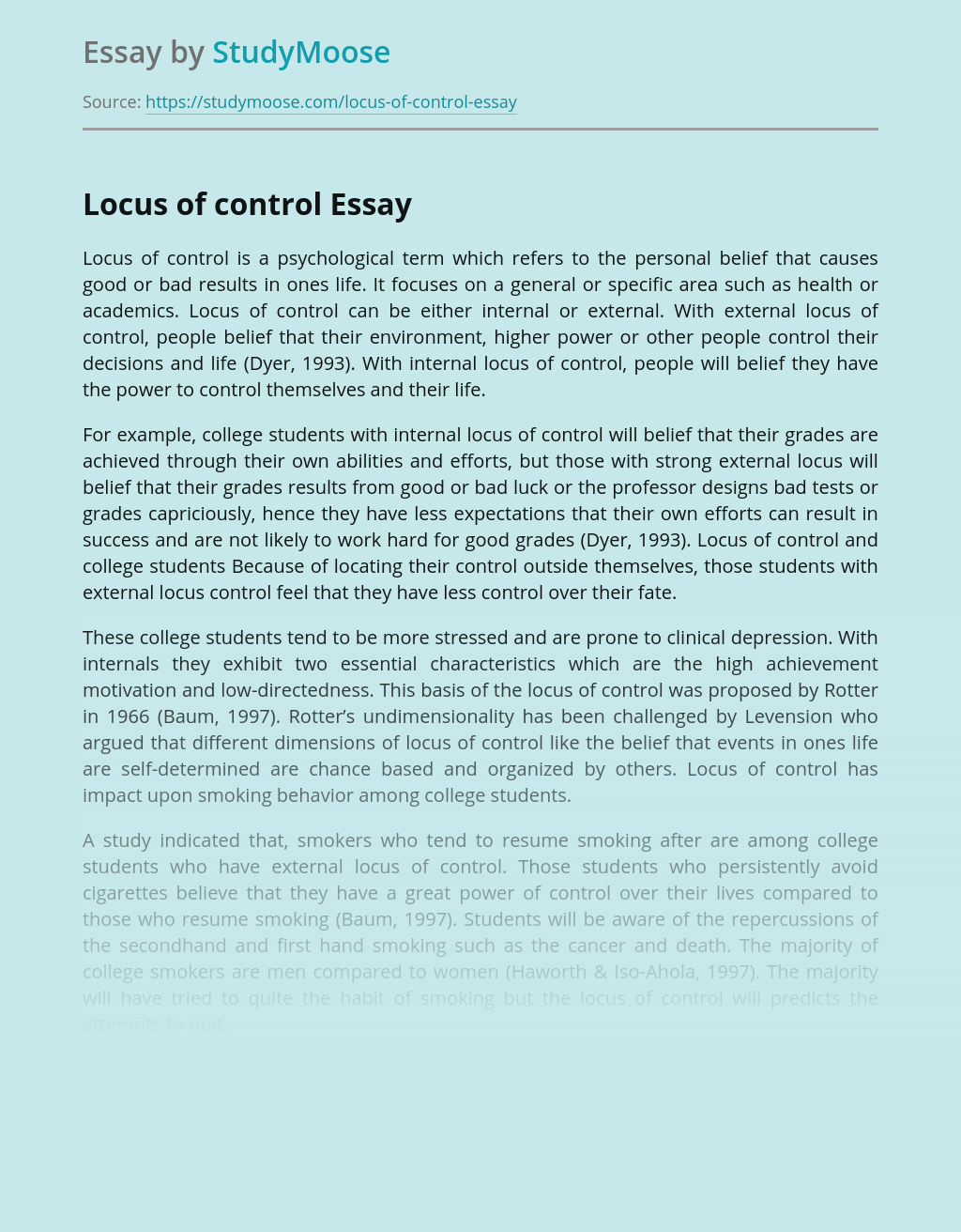Impact of Locus of Control on Achievements In Life