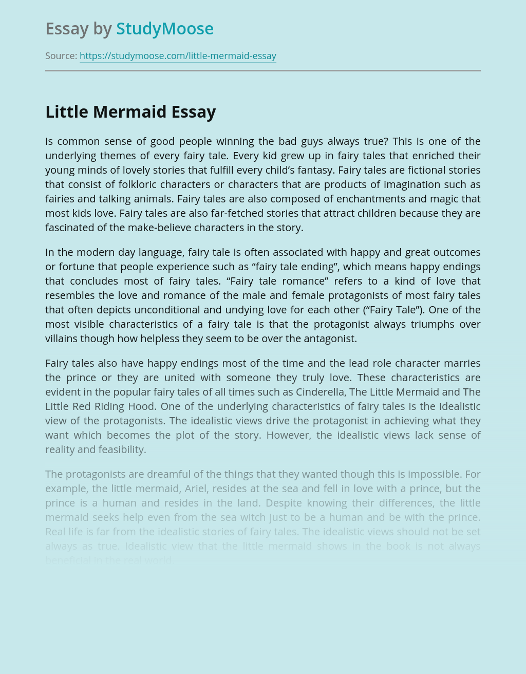 Disney's and Andersen's Fairy Tales About Little Mermaid