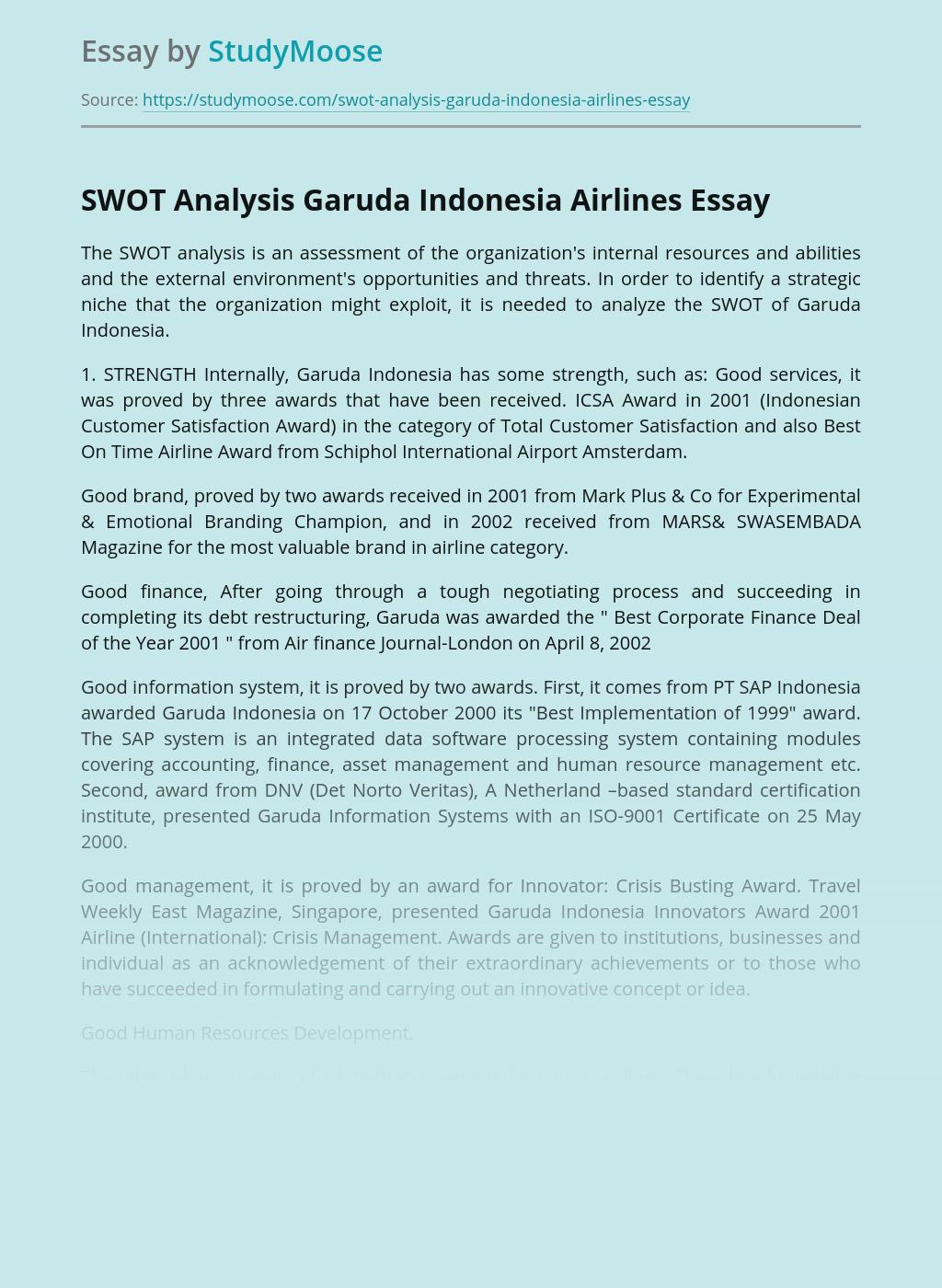 SWOT Analysis Garuda Indonesia Airlines