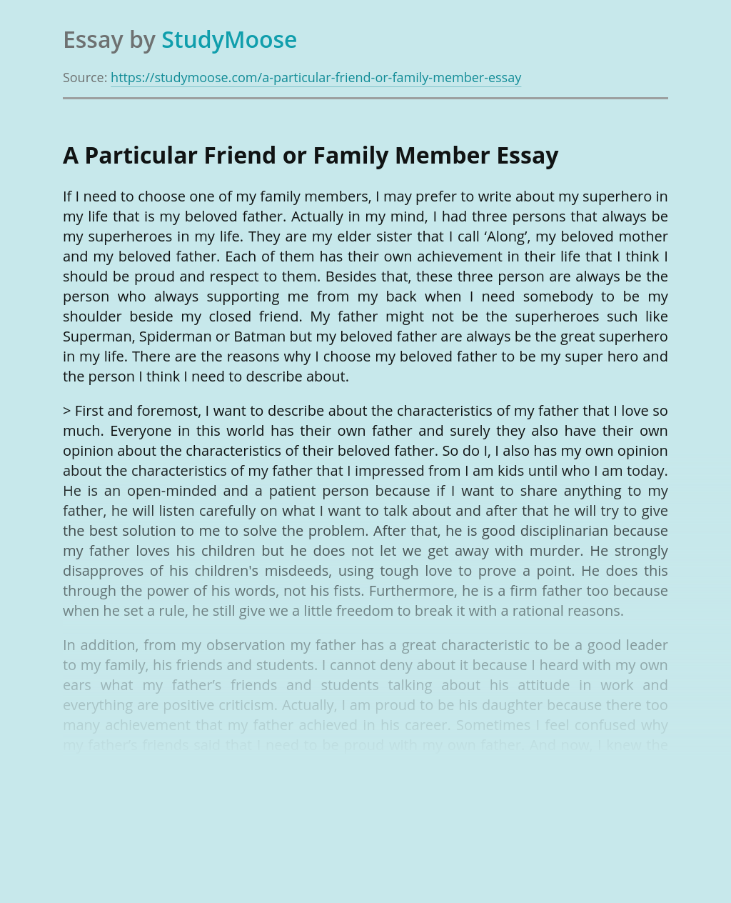 A Particular Friend or Family Member