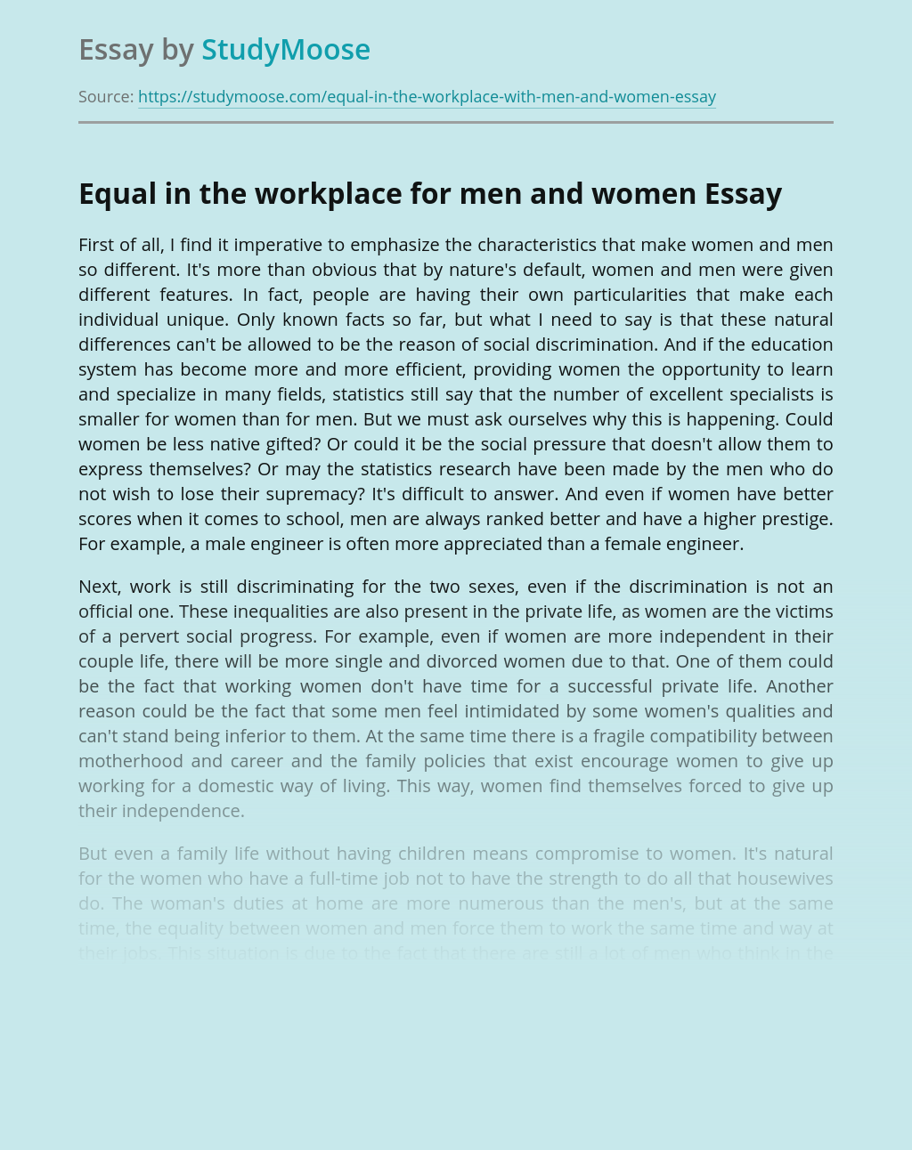 Equal in the workplace for men and women