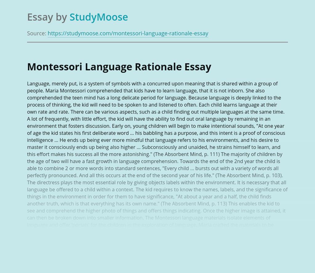 Montessori Language Rationale