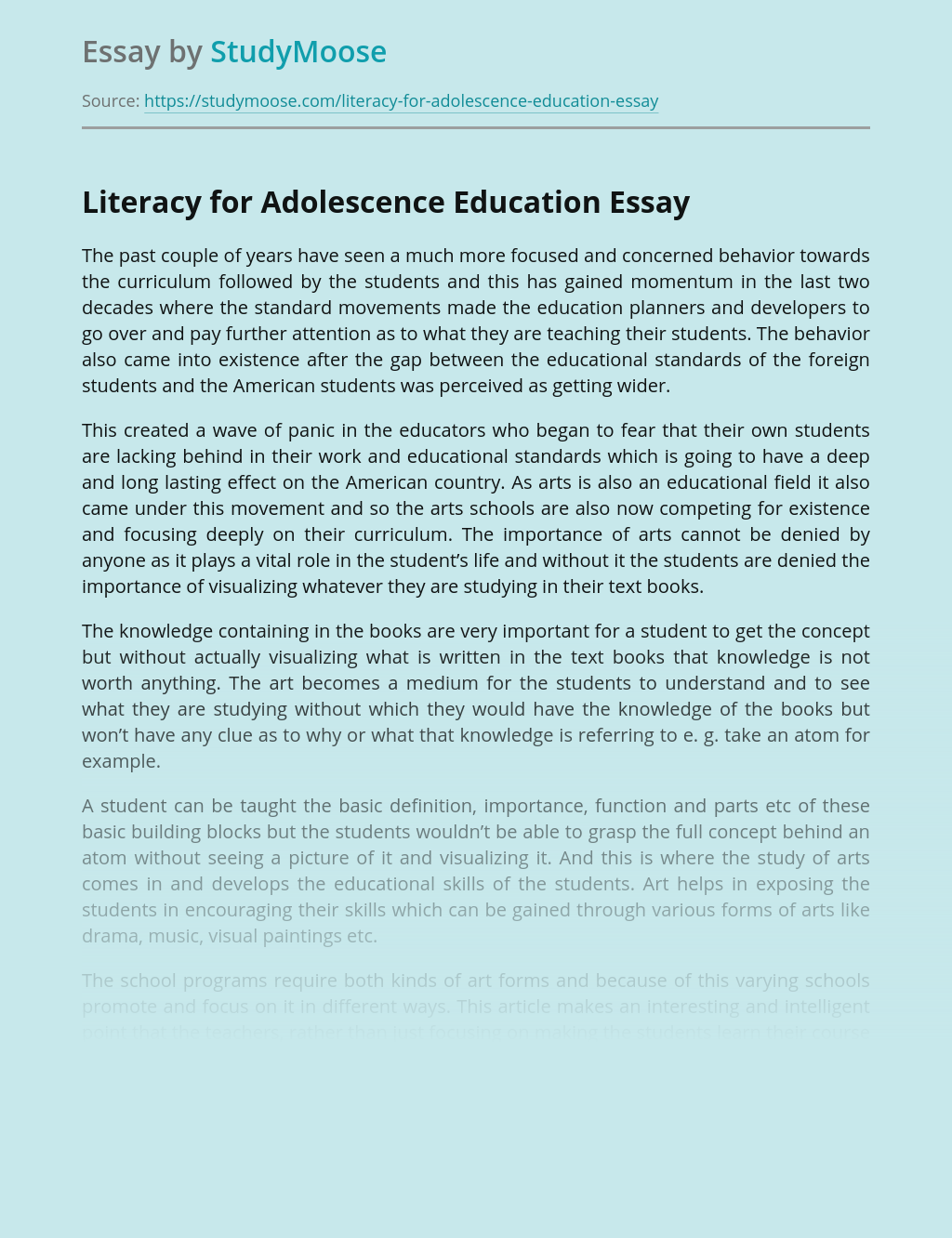 Literacy for Adolescence Education