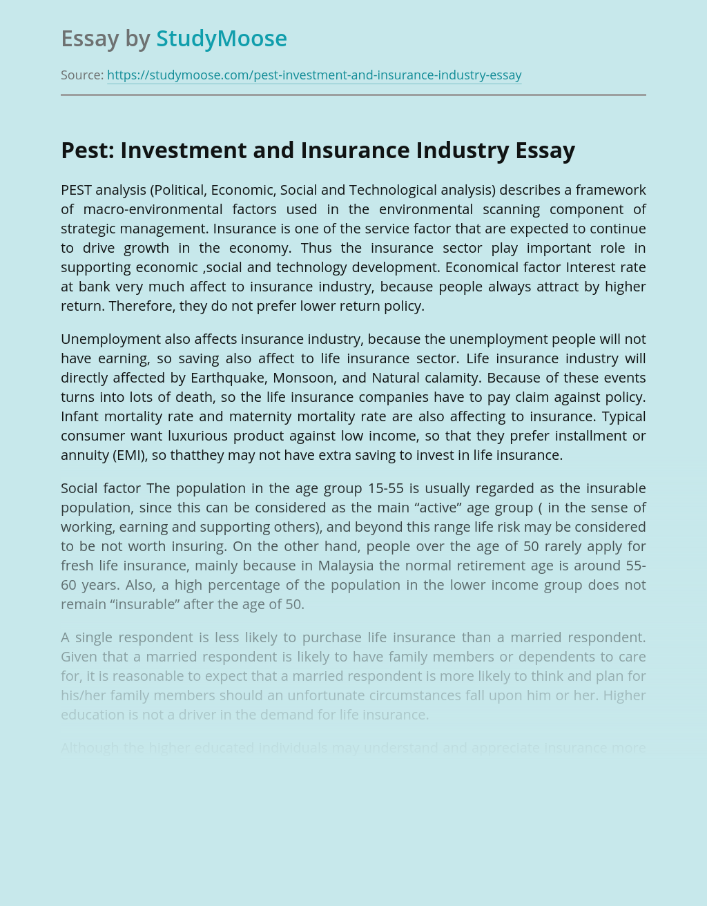 Pest: Investment and Insurance Industry