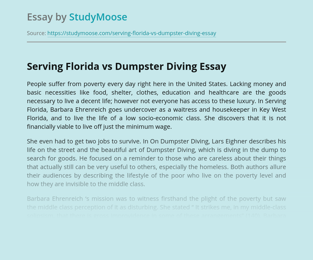 Serving Florida vs Dumpster Diving
