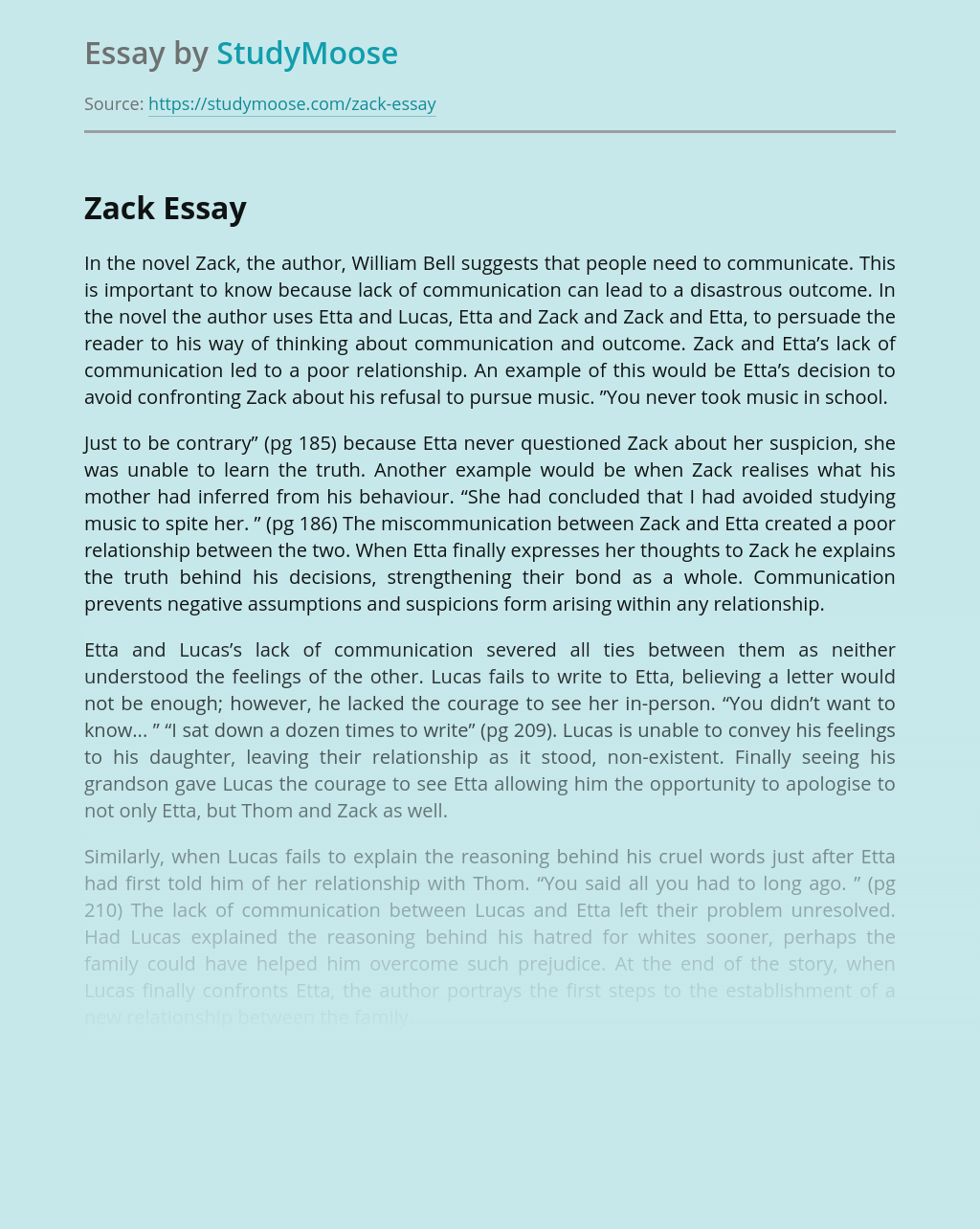 The Importance of Communication in the novel 'Zack' by William Bell