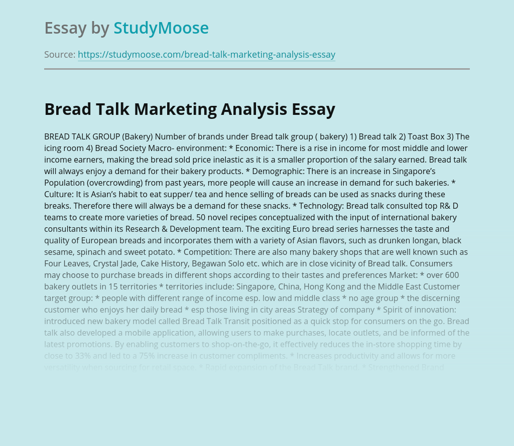 Bread Talk Marketing Analysis