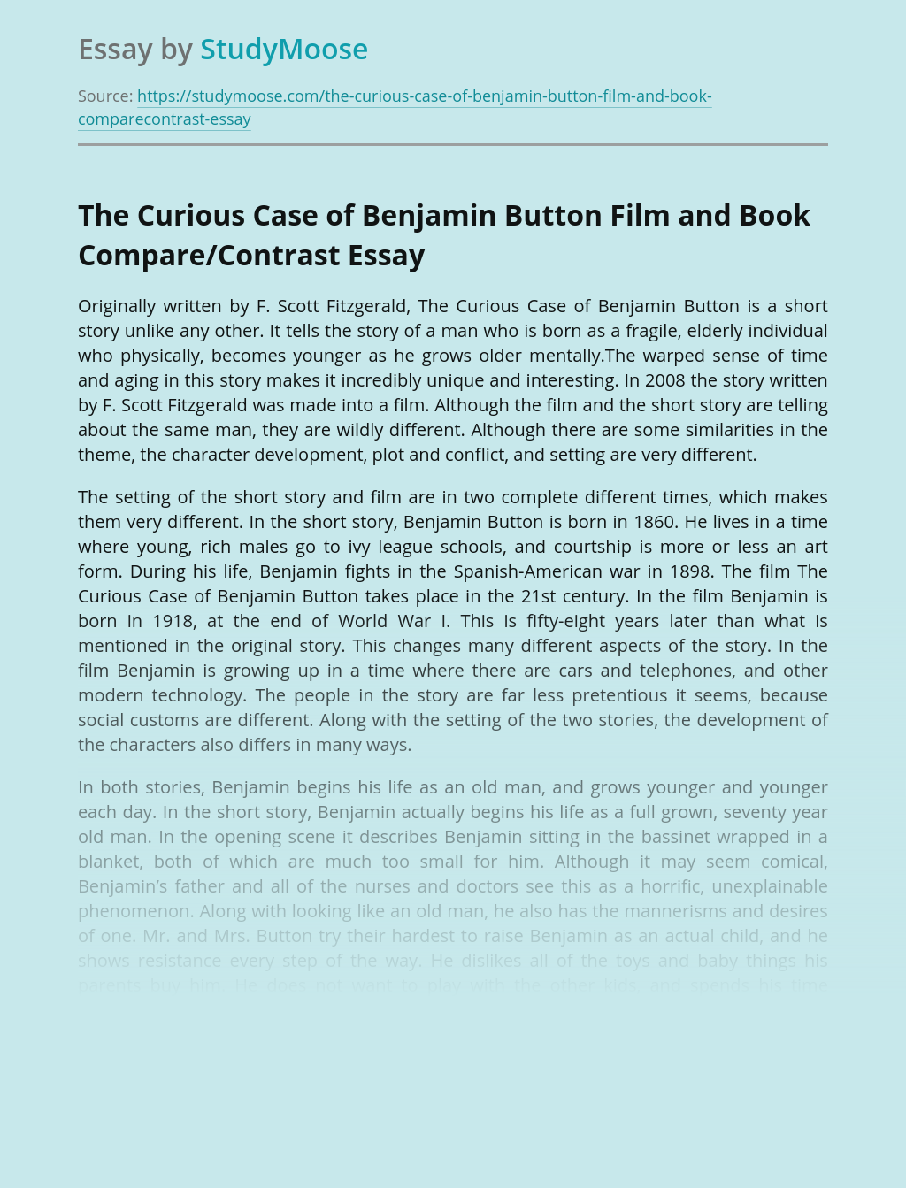 The Curious Case of Benjamin Button Film and Book Compare/Contrast