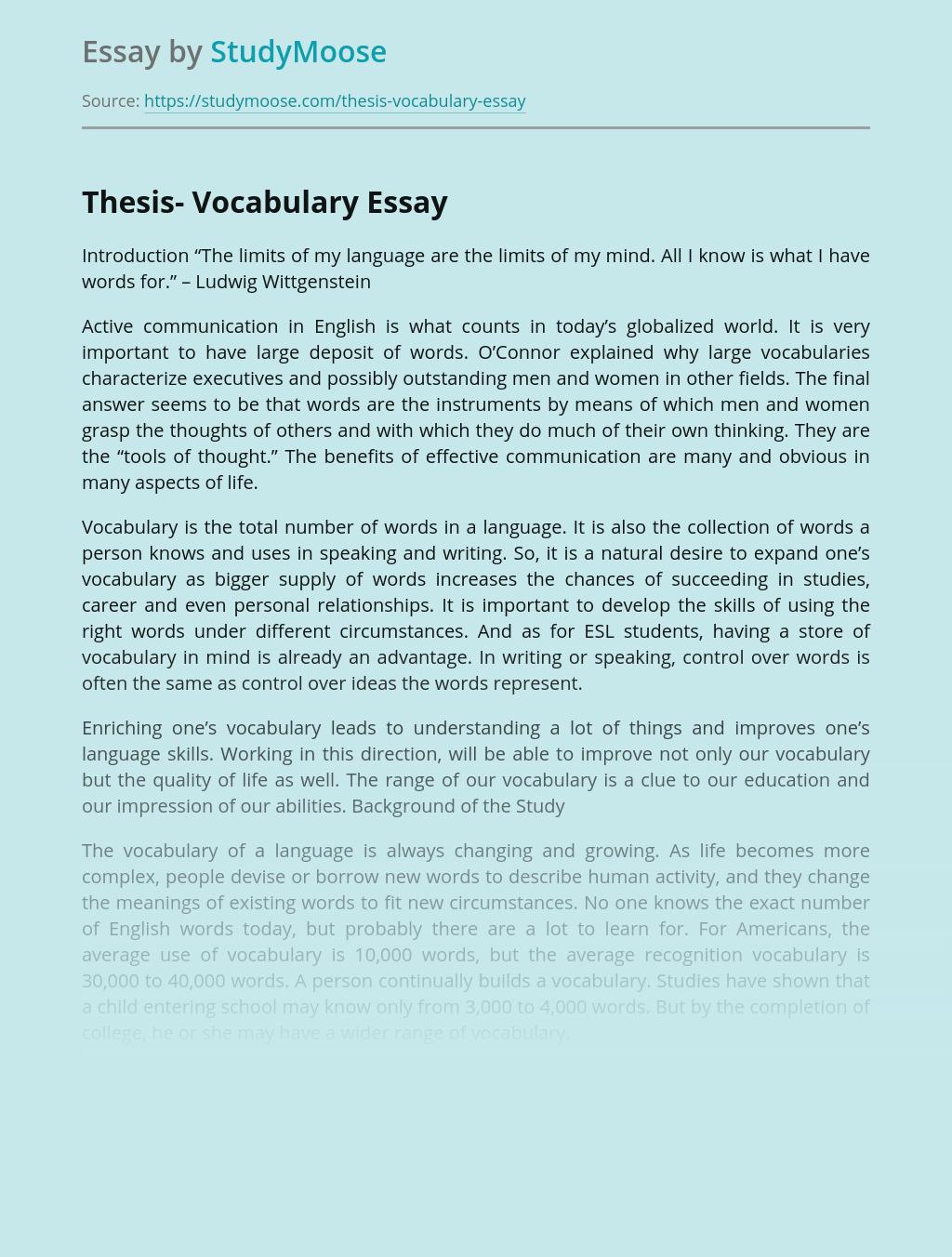 Thesis- Vocabulary