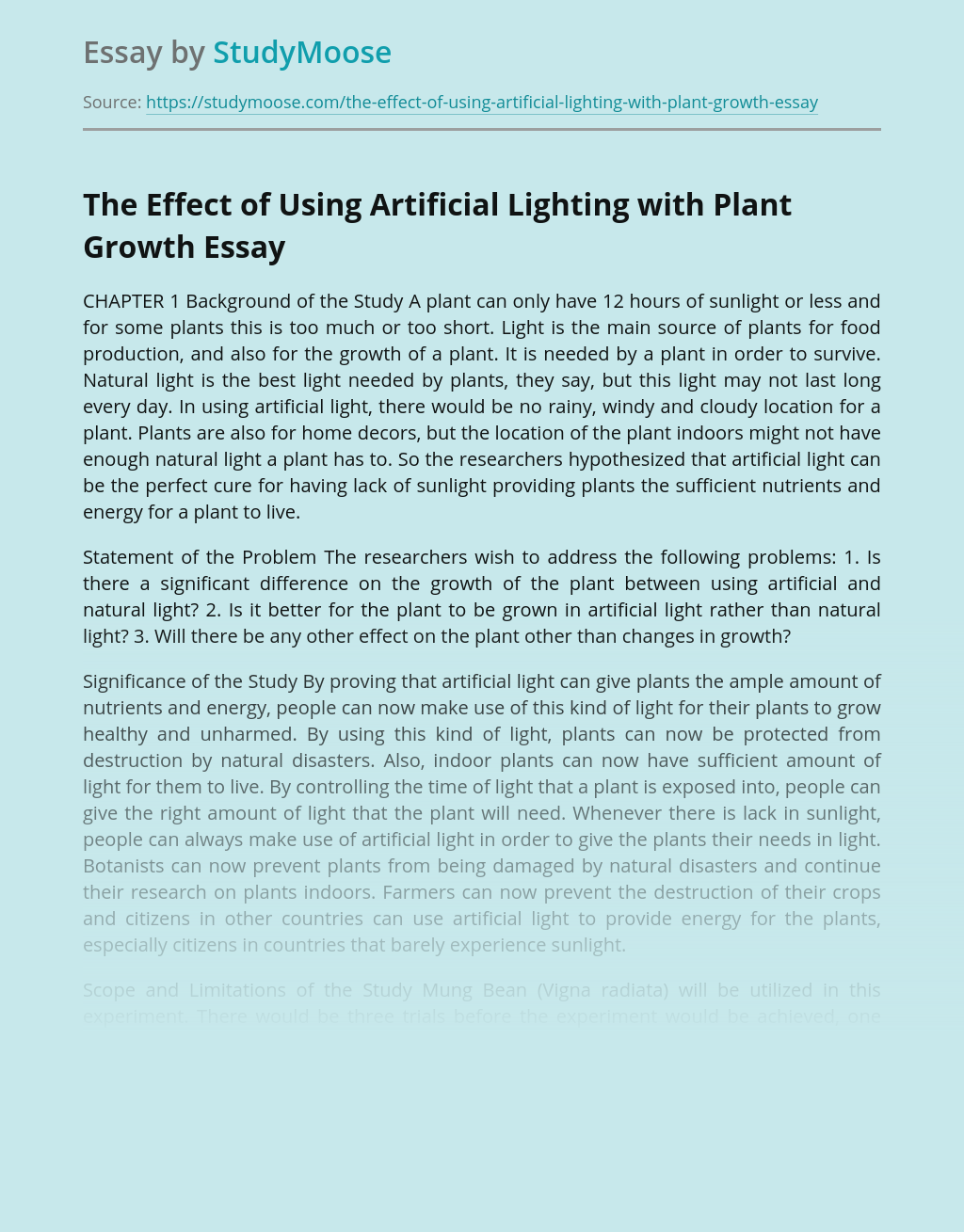 The Effect of Using Artificial Lighting with Plant Growth