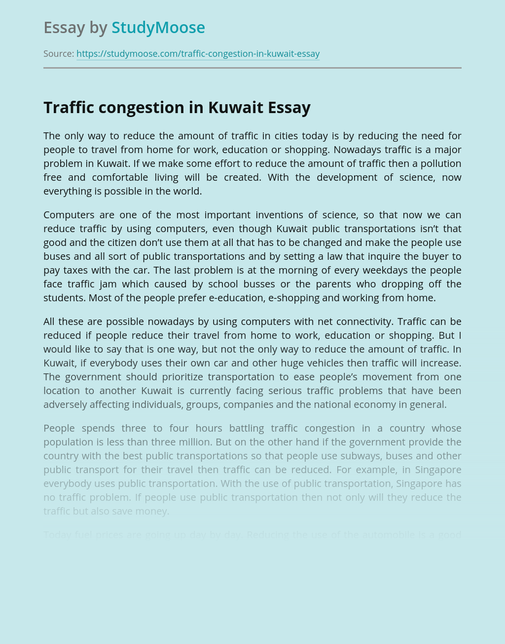 Traffic congestion in Kuwait