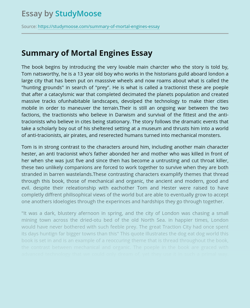 Mortal Engines Book Review