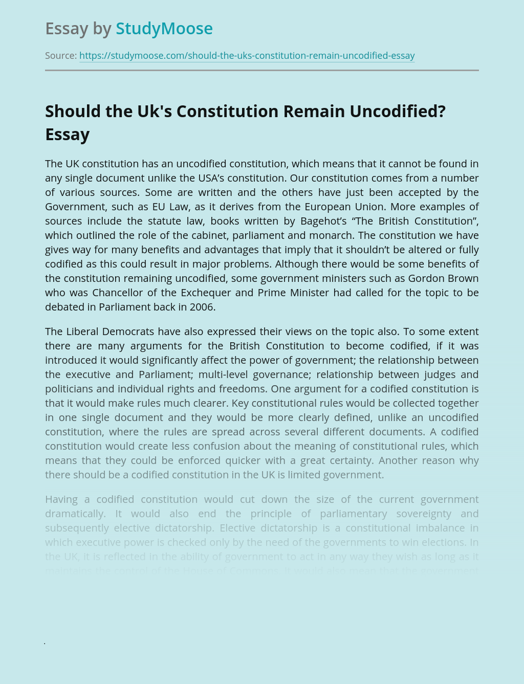 Should the Uk's Constitution Remain Uncodified?