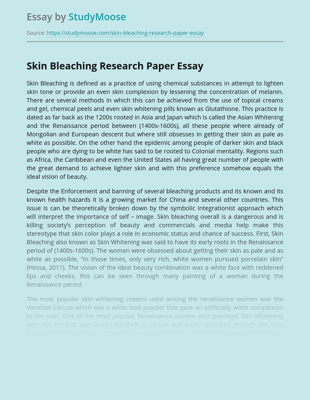 Skin Bleaching Research Paper