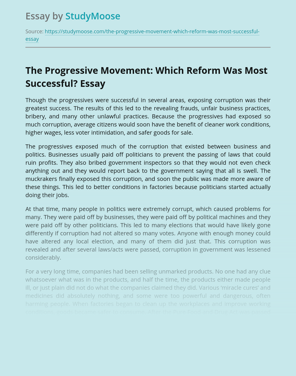 The Progressive Movement: Which Reform Was Most Successful?