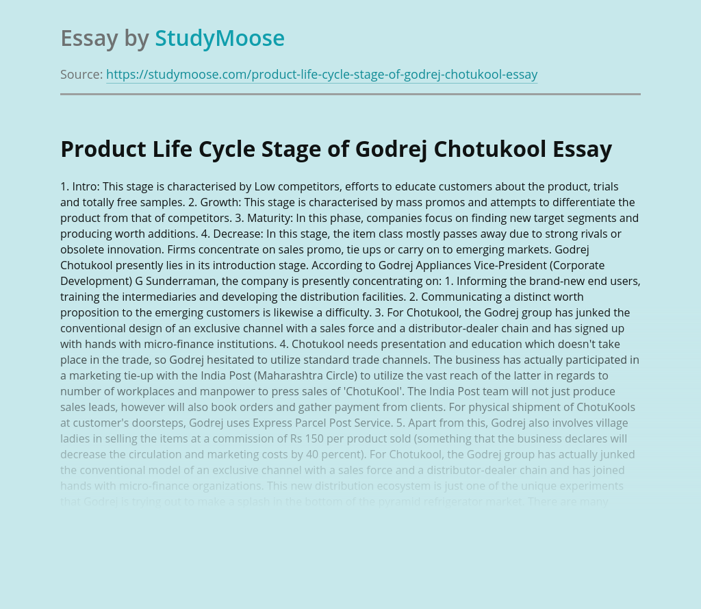 Product Life Cycle Stage of Godrej Chotukool
