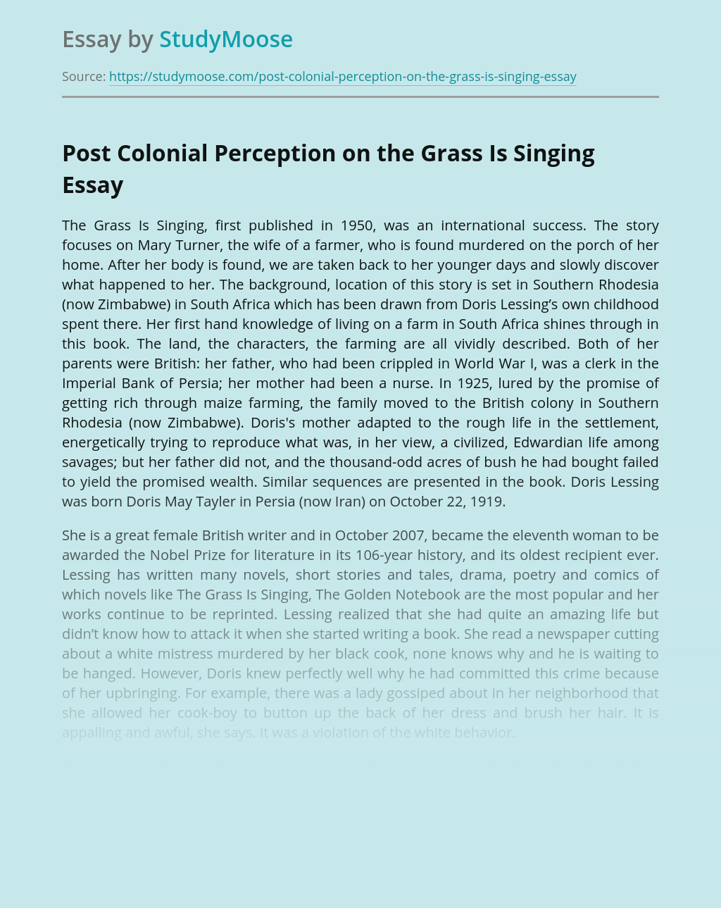 Analysis of Colonization in The Grass Is Singing